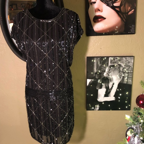 Forever 21 Dresses & Skirts - NWT- Blk & Silver Sequins Gatsby Style Dress